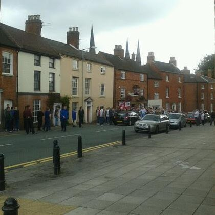 Drunken crowd outside the George and Dragon