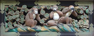 Three wise monkeys, Toshogu shrine, Nikko, Japan