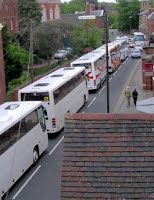 Tourist coaches near Lichfield Cathedral