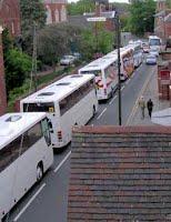 Tourist coaches near Lichfield Cathedral